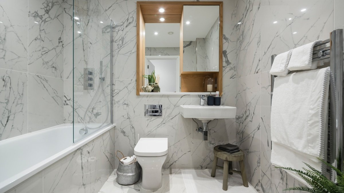 A typical bathroom at a Galliard Homes show apartment, computer generated image intended for illustrative purposes only, ©Galliard Homes.
