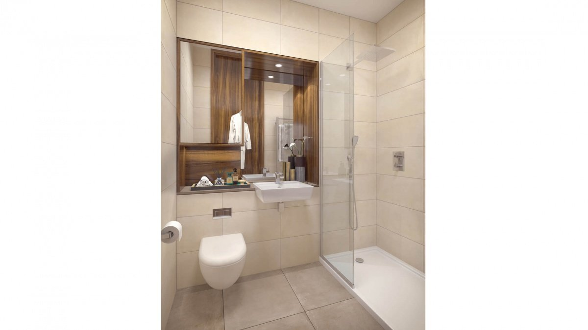 Shower room at Orchard Wharf, computer generated image intended for illustrative purposes only, ©Galliard Homes.