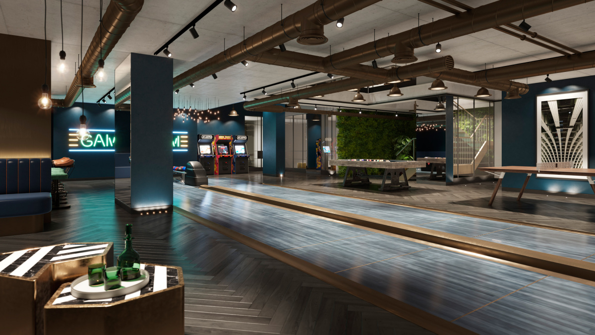 The bowling lanes and games lounge at The Stage, computer generated image intended for illustrative purposes only, ©Galliard Homes.