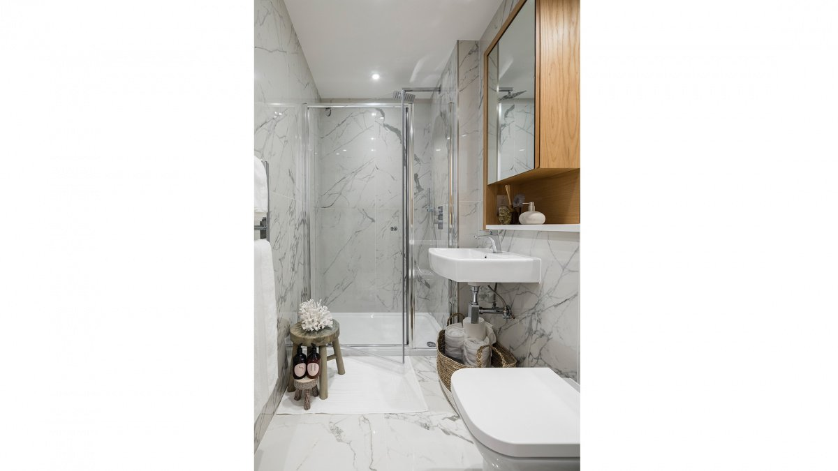 A typical shower room in a typical Galliard apartment, ©Galliard Homes.
