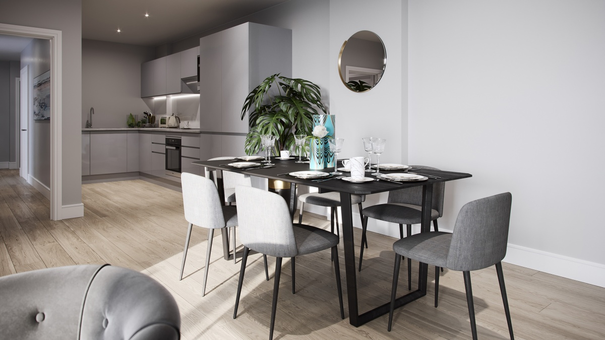 Dining area in a Galliard Homes show apartment, ©Galliard Homes.