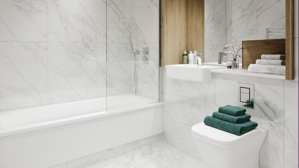 Bathroom in a Galliard Homes show apartment, ©Galliard Homes.