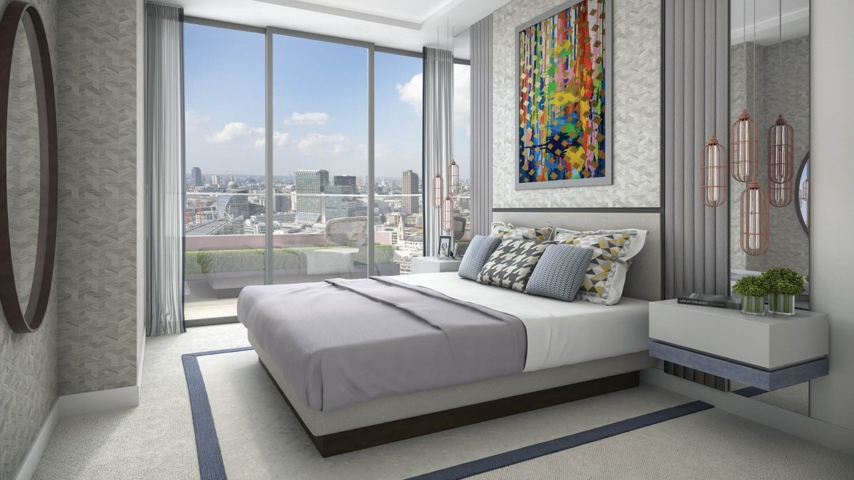 A designer bedroom at The Stage, computer generated image intended for illustrative purposes only, ©Galliard Homes.