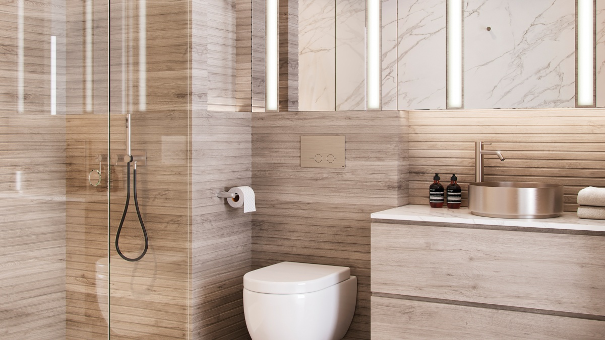 Bathroom at an Arena Tower apartment, ©Galliard Homes.