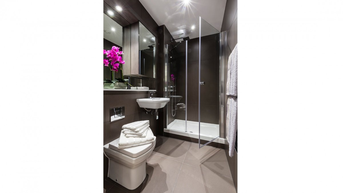 Shower room in a Galliard Homes studio apartment, ©Galliard Homes.