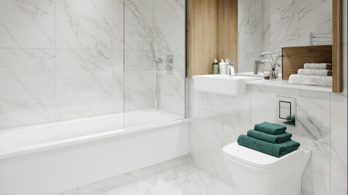 Shower room in a Galliard Homes show apartment, ©Galliard Homes.