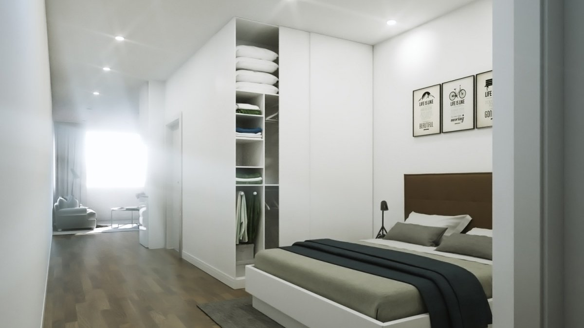Bedroom area in a typical Galliard apartment, ©Galliard Homes.