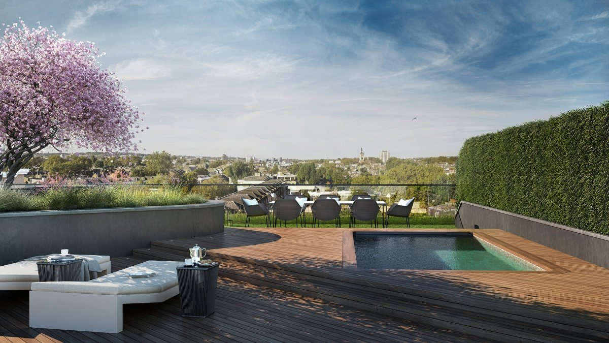 Roof garden at Islington Square, ©Galliard Homes.