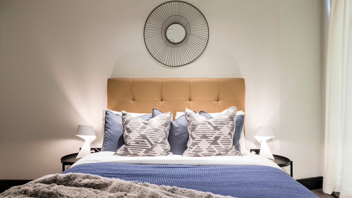 Bedroom in a Galliard Homes apartment, image intended for illustrative purposes only, ©Galliard Homes.