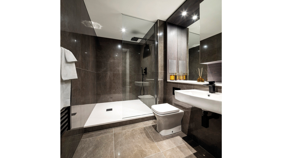 Shower room in a Galliard Homes apartment, image intended for illustrative purposes only, ©Galliard Homes.