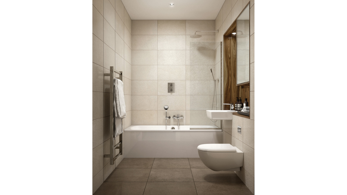 Bathroom at Orchard Wharf, computer generated image intended for illustrative purposes only, ©Galliard Homes.