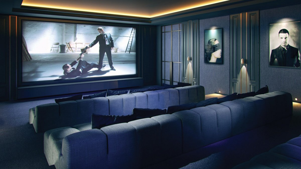 Cinema screening room at The Stage, computer generated image intended for illustrative purposes only, ©Galliard Homes.