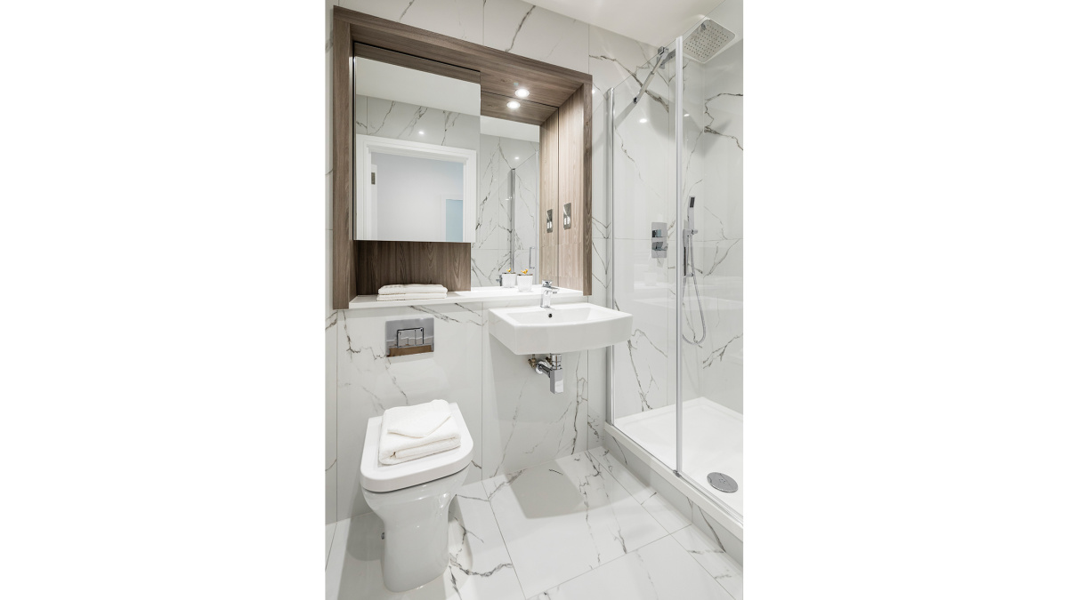 Shower room at a Galliard Homes apartment , ©Galliard Homes.