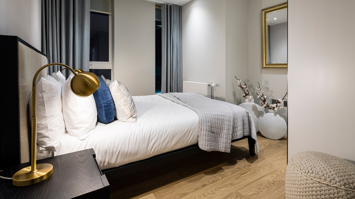 Bedroom area at a Wimbledon Grounds apartment, ©Galliard Homes