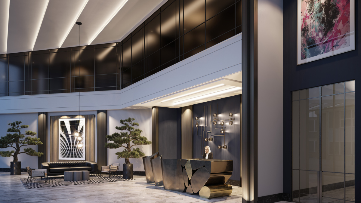Entrance foyer designed by Nicola Fontanella at The Stage; computer generated image intended for illustrative purposes only, ©Galliard Homes.