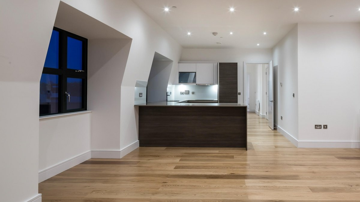 Kitchen area at a Crescent House apartment, ©Galliard Homes.