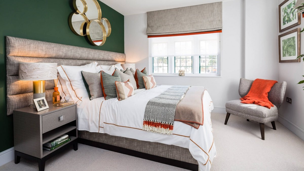 Bedroom at a Crescent House show apartment, ©Galliard Homes.