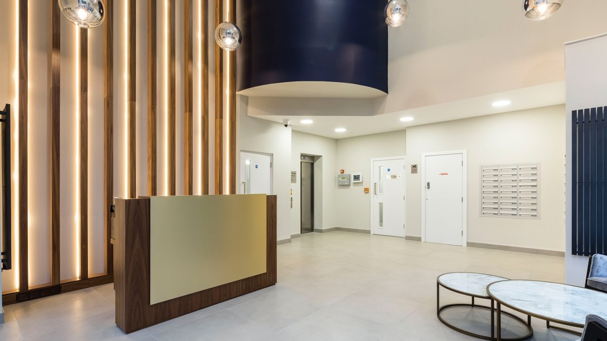 Lobby at Pinnacle House,computer generated image intended for illustrative purposes only, ©Galliard Homes.