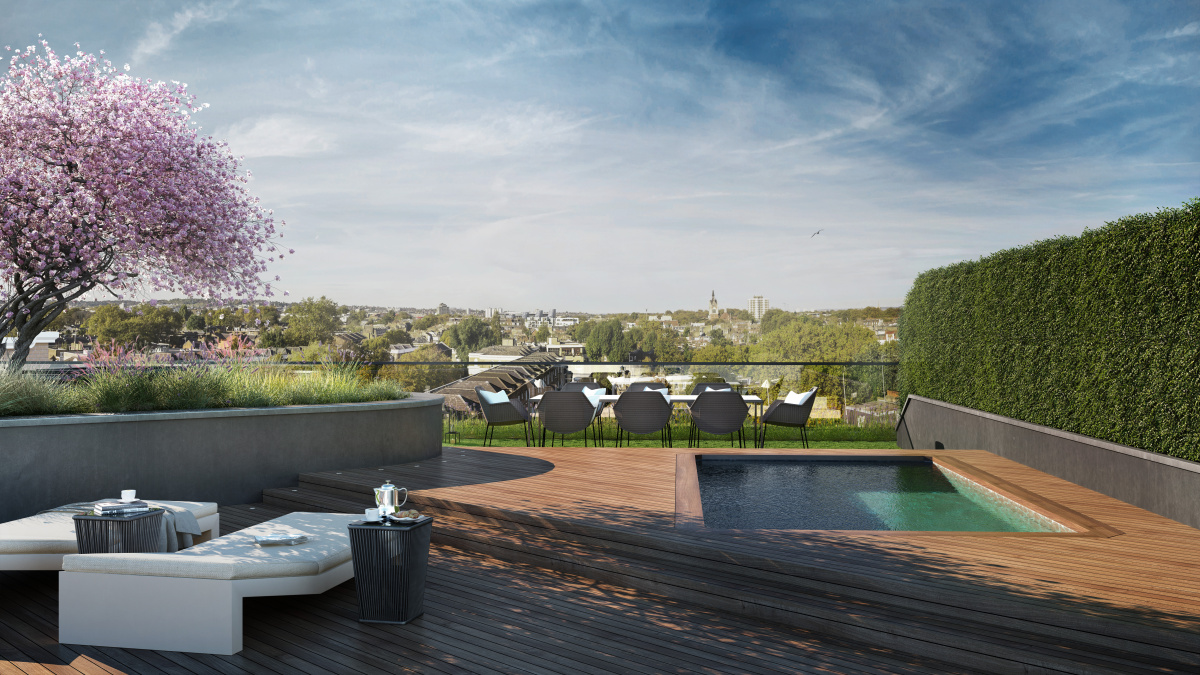 Roof top garden and swimming pool at Islington Square, ©Galliard Homes.