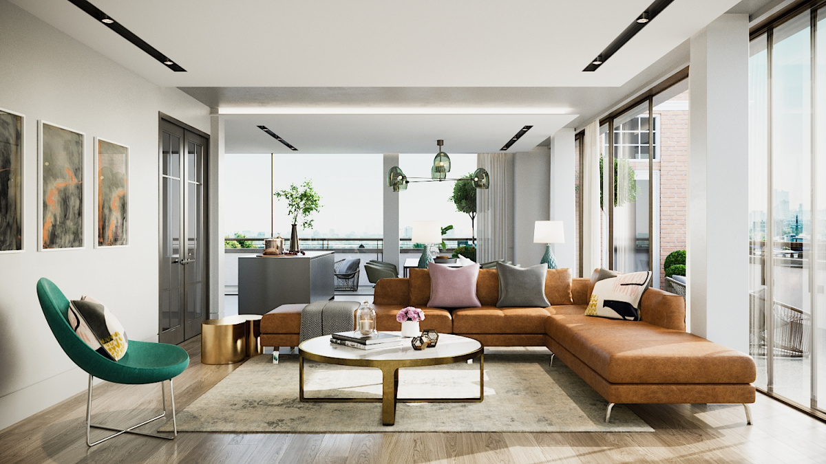 Living area at Islington Square, ©Galliard Homes.