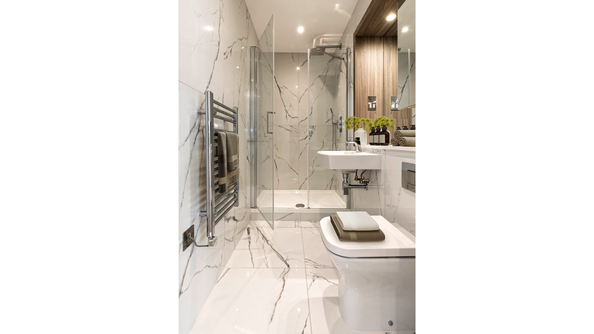 Shower room at a Galliard Homes apartment, computer generated image intended for illustrative purposes only, ©Galliard Homes.