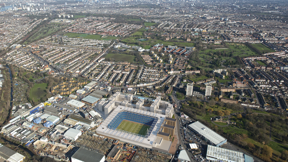 Aerial view of Wimbledon Grounds, computer generated image intended for illustrative purposes only, ©Galliard Homes.