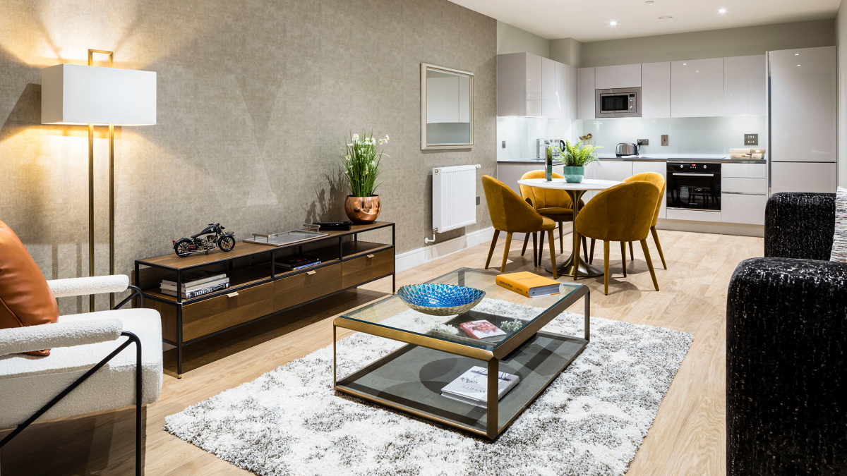 Open-plan kitchen, living and dining area at a Wimbledon Grounds apartment, ©Galliard Homes