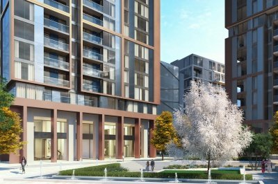 Harbour Central exterior and landscaped piazza, computer generated image intended for illustrative purposes only, ©Galliard Homes.