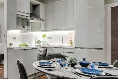 Kitchen area at Orchard Wharf, image intended for illustrative purposes only, ©Galliard Homes.