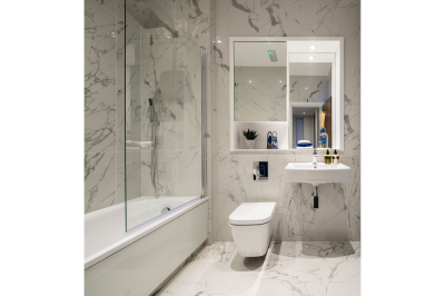 Bathroom at Orchard Wharf, image intended for illustrative purposes only, ©Galliard Homes.
