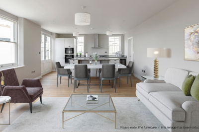 Open plan kitchen, dining and living area at Hope House plot, ©Acorn Property Group.