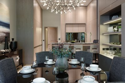 Kitchen and dining area in Apartment G05 at The Chilterns, ©Galliard Homes.
