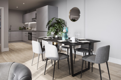 Dining area at a Galliard Homes show apartment, ©Galliard Homes.