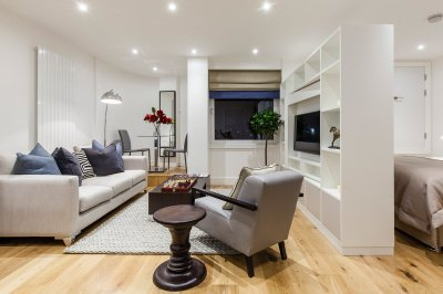 Living area in a Galliard Homes studio apartment, ©Galliard Homes.