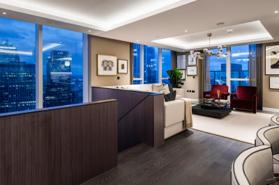 Open-plan living, kitchen and dining area at a Harbour Central duplex penthouse, ©Galliard Homes.