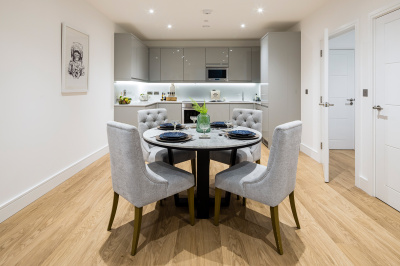 Kitchen and dining area at the Timber Yard show apartment, ©Galliard Homes.