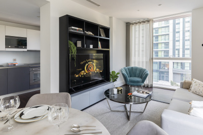 Open-plan kitchen, living and dining area at Harbour Central, ©Galliard Homes.