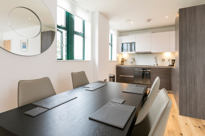 Kitchen and dining area at Crescent House, ©Galliard Homes.
