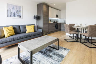 Open-plan kitchen, living and dining area in a Galliard Homes show apartment, ©Galliard Homes.