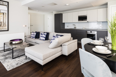 Open-plan kitchen, living and dining area at Harbour Central, Plot 101, ©Galliard Homes.
