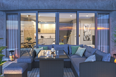 Private terrace at an Arena Tower duplex apartment, computer generated image for illustrative use only, ©Galliard Homes.