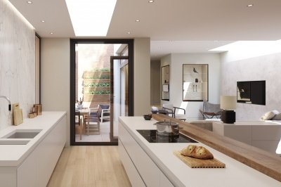 Kitchen area at Islington Square, ©Galliard Homes.