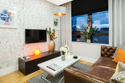 Living area in a Galliard Homes showroom, ©Galliard Homes.