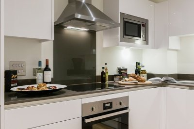 Kitchen area at a Galliard Homes show apartment, ©Galliard Homes.