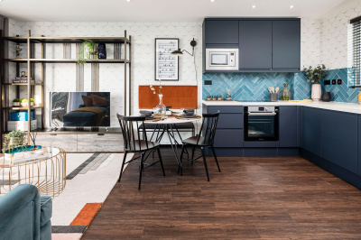 A typical kitchen, living and dining area at a Galliard Homes Highlife Collection show apartment, ©Galliard Homes.