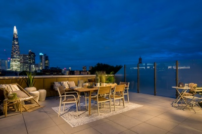 Roof terrace at Trilogy with views of The Shard and City of London, ©Acorn Property Group.
