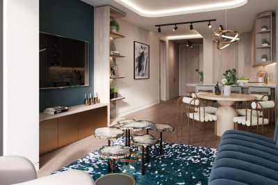 Living area at TCRW SOHO; image intended for illustrative purposes only, ©Galliard Homes.