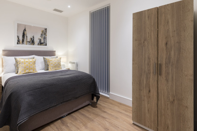 A typical bedroom at a Galliard Homes show apartment ©Galliard Homes.