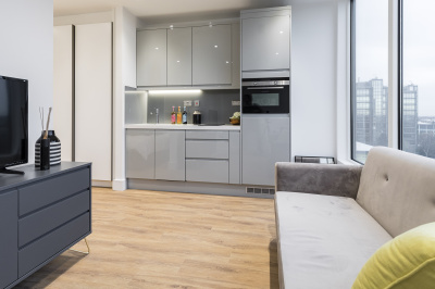 A typical open plan kitchen area at a Galliard Homes show apartment, ©Galliard Homes.