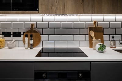 Kitchen in a Galliard Homes apartment, image intended for illustrative purposes only, ©Galliard Homes.